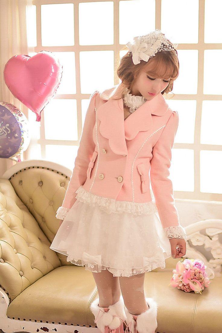Japanese Lolita Princess Lace Wool Coat Sweet Cute Slim Short Jacket Lapel W32   eBay