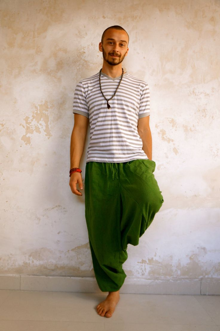 Green Harem Pants with pockets, 100% Khadi Cotton, Afghani Trousers, Loose fit, Drop Crotch, Baggy, Wide leg, Unisex Yoga Pants, alladin by YogapactShop on Etsy