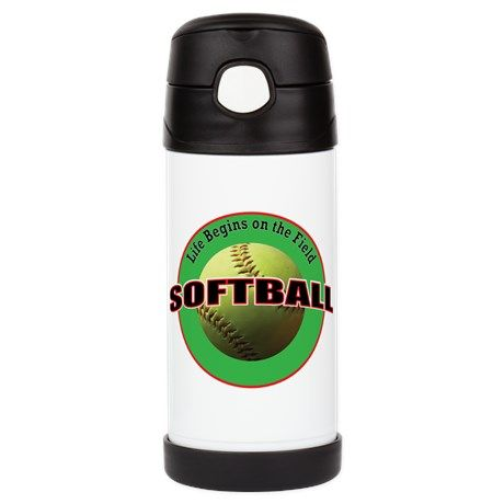 """Life Begins Insulated Cold Beverage Bottle on CafePress.com - $24.99 - Life Begins Insulated Cold Beverage Bottle - by #RGebbiePhoto @ Cafepress - #Softball #Life #Montra - Illustrated softball logo style design with a used, worn yellow softball photograph at center with the words """"Life Begins on the Field"""" and the word """"Softball"""" in large text."""