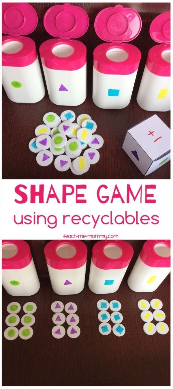 Shapes Game from Recyclables. Fun DIY game for kids!