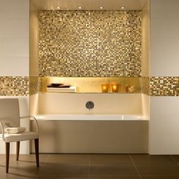 Villeroy & Boch gold tiles, contact us for a quote: sales@ukbathrooms.com   #Gold #Tiles