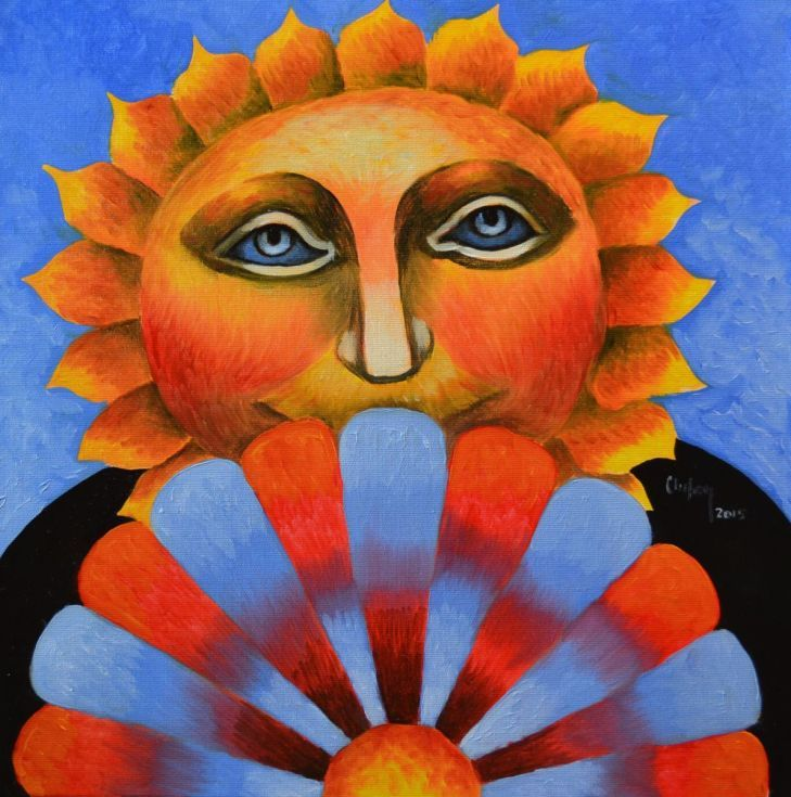 ARTFINDER: THE YELLOW SUN by CHIFAN CĂTĂLIN ALEXANDRU - OIL ON CANVAS PAINTING, 2015  40 X 40 cm