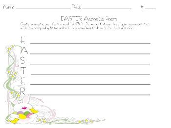 Cute template for students to write an acrostic poem with an Easter Theme....