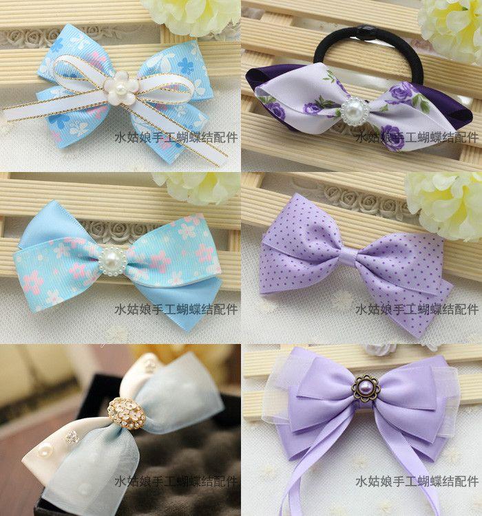 蓝紫色系缎带 DIY做蝴蝶结发饰发夹头饰卡子手工材料包 丝带套装