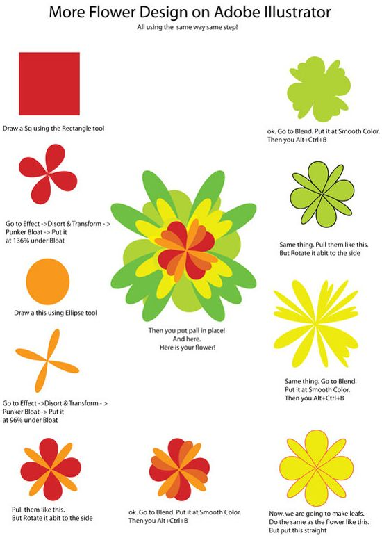 how to draw a flower with illustrator