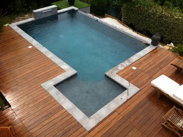 14 best Piscine images on Pinterest Backyard patio, Ponds and - pose margelle bois piscine