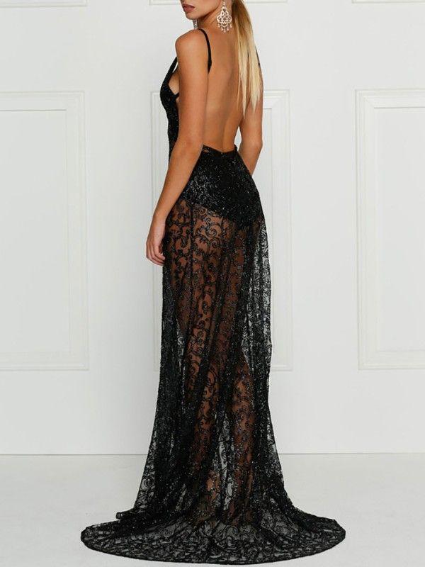 7524cbd215e Deep V Backless High Slit Maxi Evening Dress