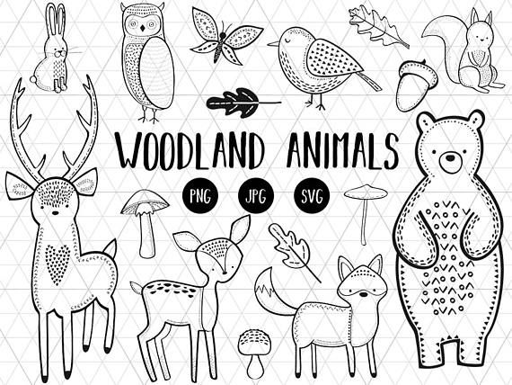 Woodland Animals Clipart, Woodland Animals Download, Silhouette SVG cut files, Cricut Svg Animals, Forest Animals Digital, Tribal Animals  This listing is for a clipart set of 16 digitally hand drawn woodland animal design elements. Can be used digitally or in print. Perfect for invitation design (christmas, birthday, party, etc), scrapbooking, cardmaking, stickers, announcement cards, blogs, digital stamps, greeting cards, web design, decorations or anything! ≈≈≈≈≈≈≈≈≈≈≈≈≈≈≈ WHAT YOU GET…