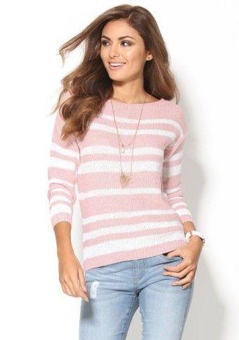 Ažúrový pulóver s vrkočovým vzorom #ModinoSK #pink #pastel