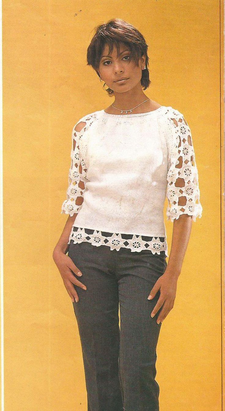 Jersey con estrellitas blancas a Crochet
