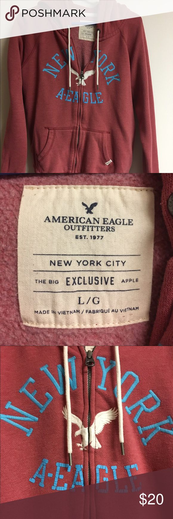 American Eagle Large Zip Up Hoodie The Big Apple The Big Apple Exclusive, super soft American Eagle Large Zip Up Hoodie. No stains or flaws of any kind, no visible signs of excess wear. The A-EAGLE on the front was made to look cracked like that for the vintage look. Check my other items for bundles! I'll be listing about 200 items in the next couple of days. I have entirely too many clothes and I'm running out of closet space! Time to consolidate and find new homes for all these pieces…