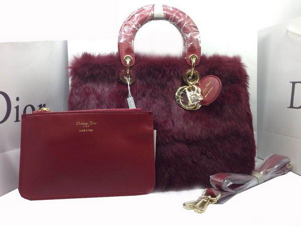Wholesale Designer Inspired Handbags Dior Small Diorissimo Bag Cony Hair CD0901 Wine