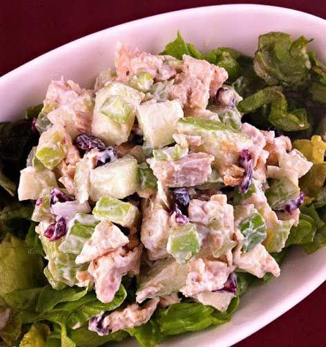 Chicken- Apple Crunch Salad:  chicken breasts, granny smith apples, diced celery, dried cranberries, green onions, light mayonnaise, light sour cream, fresh lemon juice, salt, ground black pepper, ground cinnamon