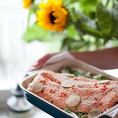 Lax i ugn med ingefära, chili och lime