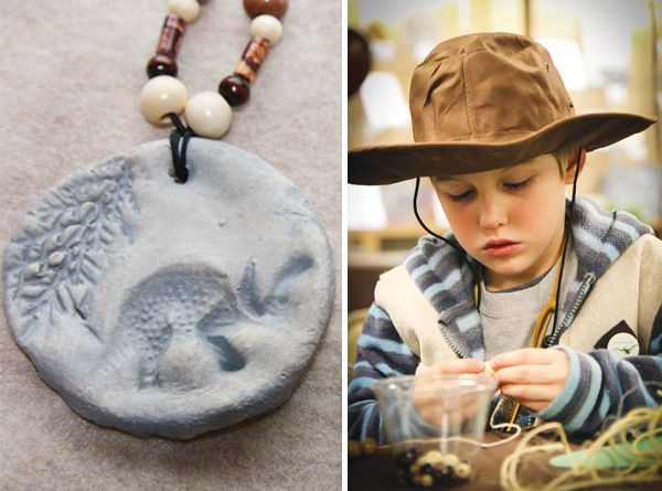 dinosaur fossil necklace--kids add beads. This whole party is so amazing, I wish Nate knew who Indiana Jones was bc I'd love to do it all! Great dino party ideas tho.