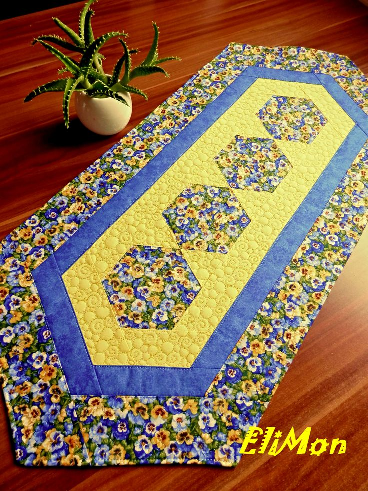 Spring table runner, flower , blue-yellow, patchwork,hexagon,quilt