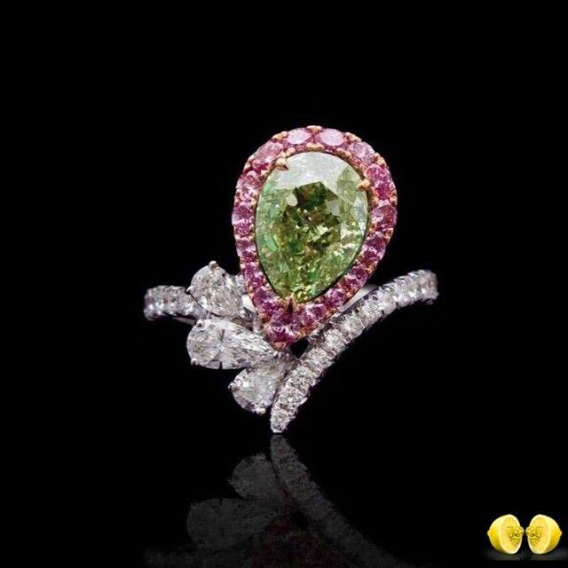Novel Collection fancy yellowish green Diamond ring. #Novel #NovelCollection…