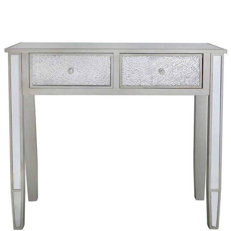 Grey Console Table Glass Top Drawers Solid Wooden Living Room Hallway Furniture