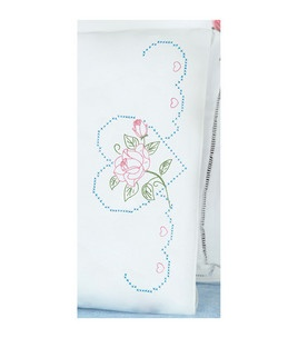 Jack Dempsey-Stamped Pillowcase With White Perle Edge 2/Pkg-Rose And Heart: stamped cross stitch kits: cross stitch: needle arts: Shop | Joann.com