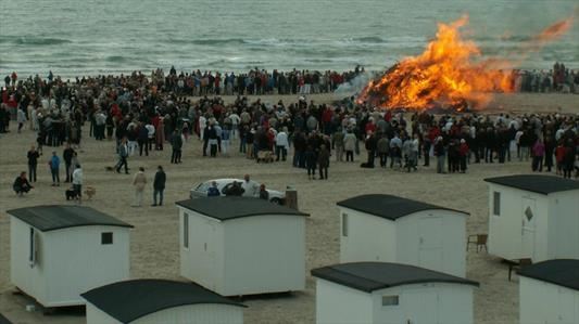 "Summer Solstice bonfire at Løkken Beach where the traditional ""witch"" is burned and sent off to Bloksbjerg, Germany"