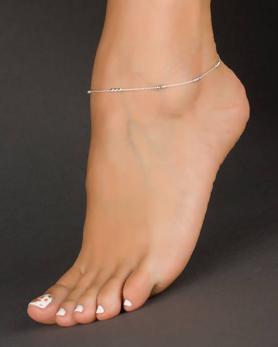 925 Sterling Silver Beads Foot Feet Ankle Anklet Bracelet Chain Jewelry