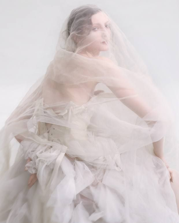 Elizabeth Emanuel Studio silk tulle, satin and lace gown, price on request, made to order. Veil, stylist's own