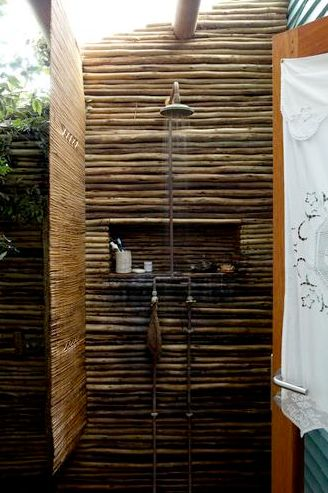Outdoor shower to rinse off before coming inside.