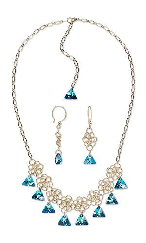 jewelry design single strand necklace and earring set with swarovski crystals and chainmaille fire mountain gems and beads - Jewelry Design Ideas