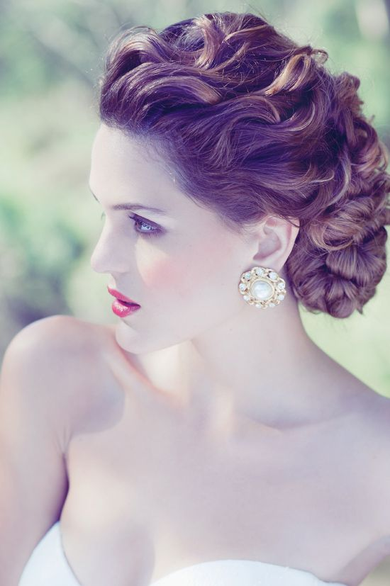 Garden Wedding Fashion Inspiration - I love this! It's still curly and out of the face