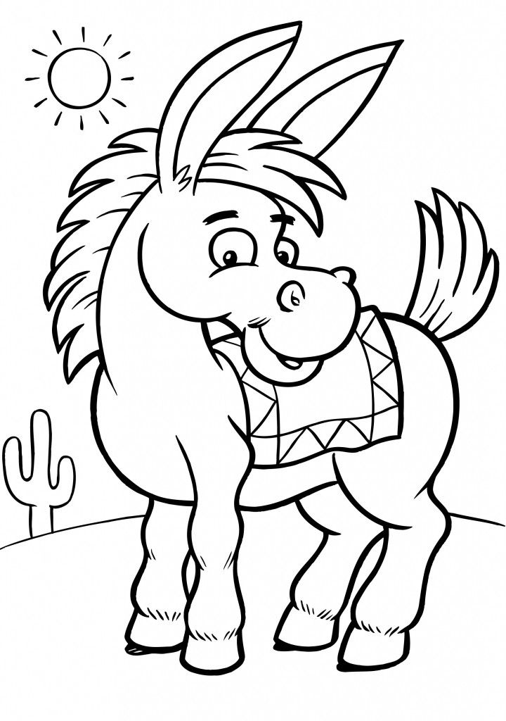 Free Printable Donkey Coloring Pages For Kids | Nativity ...