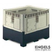 Palletbox, opvouwbaar, 3 sleden, 1200x1000x980 mm, 839ltr, beige/zwart