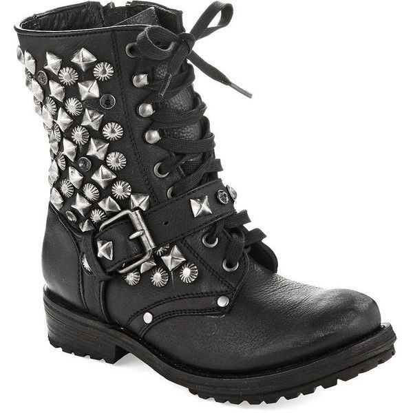 ASH Ryanna Studded Combat Boots ($116) ❤ liked on Polyvore featuring shoes, boots, ankle booties, sapatos, botas, black, ankle boots, black ankle boots, black buckle booties and black lace up ankle booties