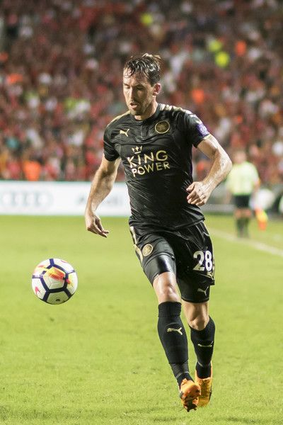 Leicester City FC defender Christian Fuchs in action during the Premier League Asia Trophy match between Liverpool FC and Leicester City FC at Hong Kong Stadium on July 22, 2017 in Hong Kong, Hong Kong.
