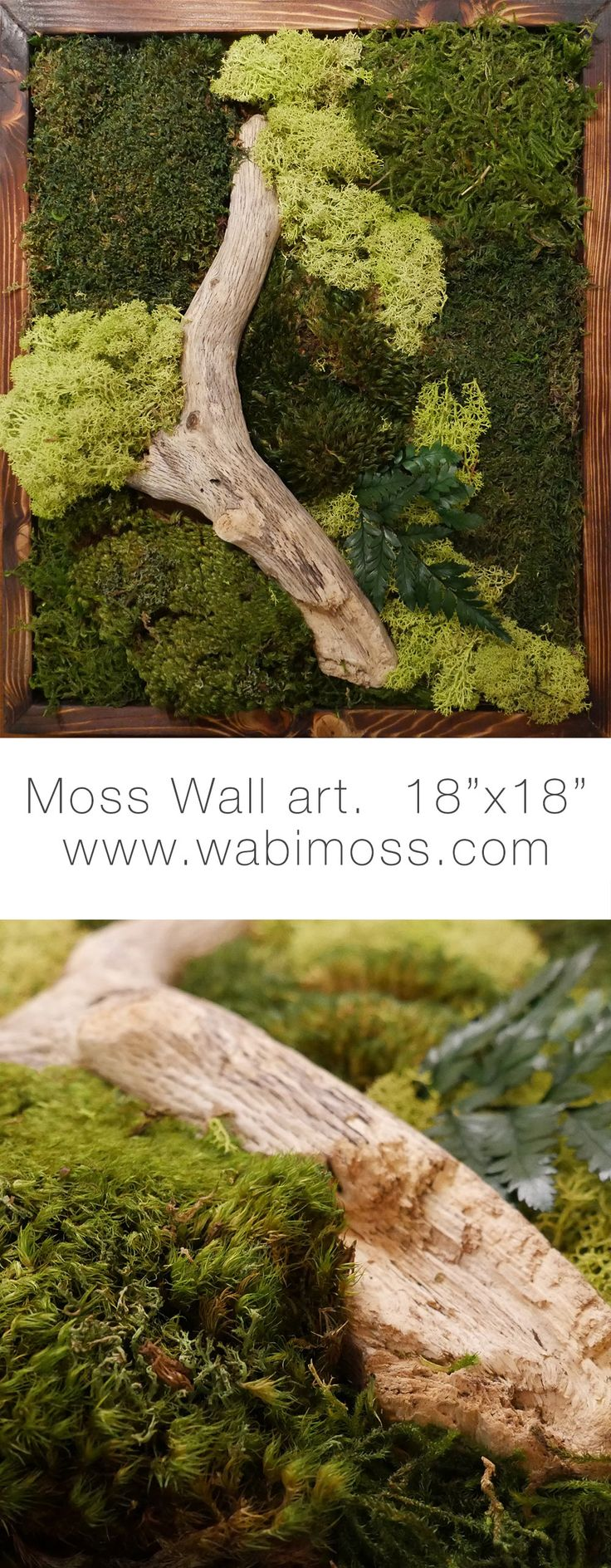 Moss wall art from wabimoss.com. Bring nature indoors with this green wall. The beautiful moss artwork will freshen any space.