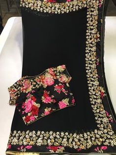 Elegant Black Color Platinum Chiffon saree with designer blouse | Buy Online Sarees | Elegant Fashion Wear
