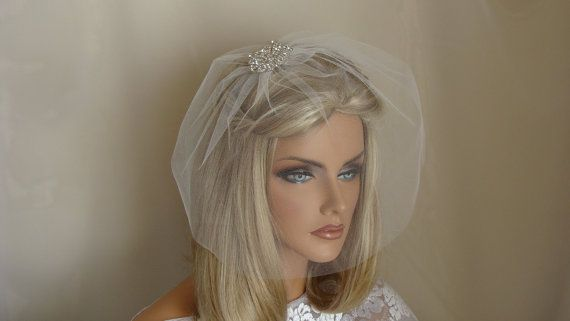 10 inch Classic Tulle Birdcage Blusher Veil by SusanCarolBridal, $34.95