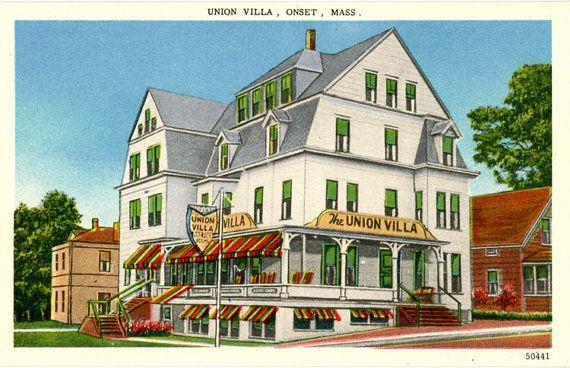 Early vintage postcard of Union Villa Hotel & Restaurant overlooking Onset Bay on Cape Cod, Massachusetts