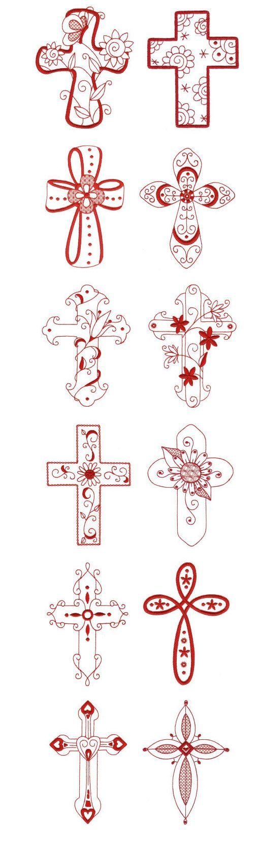 Embroidery | Free Machine Embroidery Designs | Redwork Crosses: