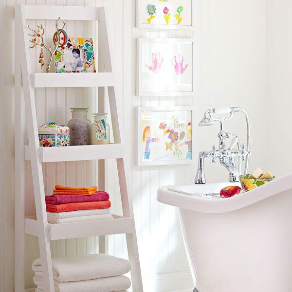 $91 DIY ladder shelf tutorial from LowesDecor Ideas, Kids Bathroom, Storage Shelves, Bathroom Storage, Bathroom Wall, Ladders Shelf, Bathroom Shelves, Kids Artworks, Ladders Shelves