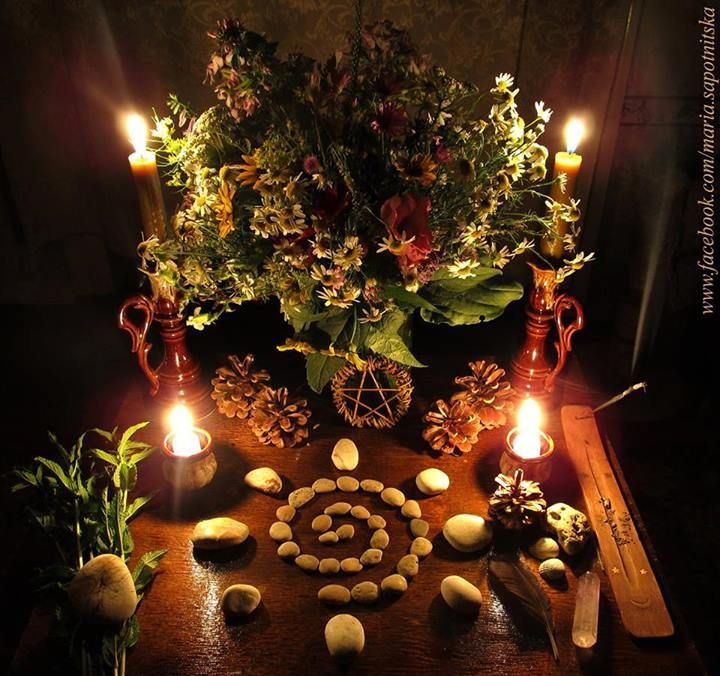 This is beautiful. The stone spiral is a great idea that can be used on the ground of an outdoor altar, too.