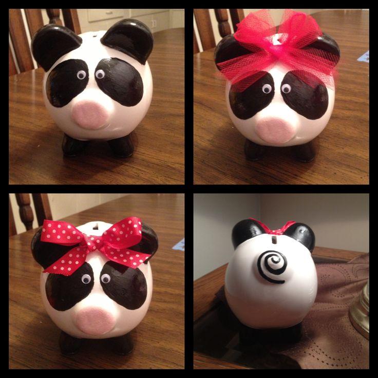 Panda Piggy Bank Hand Painted Piggy Banks Pinterest