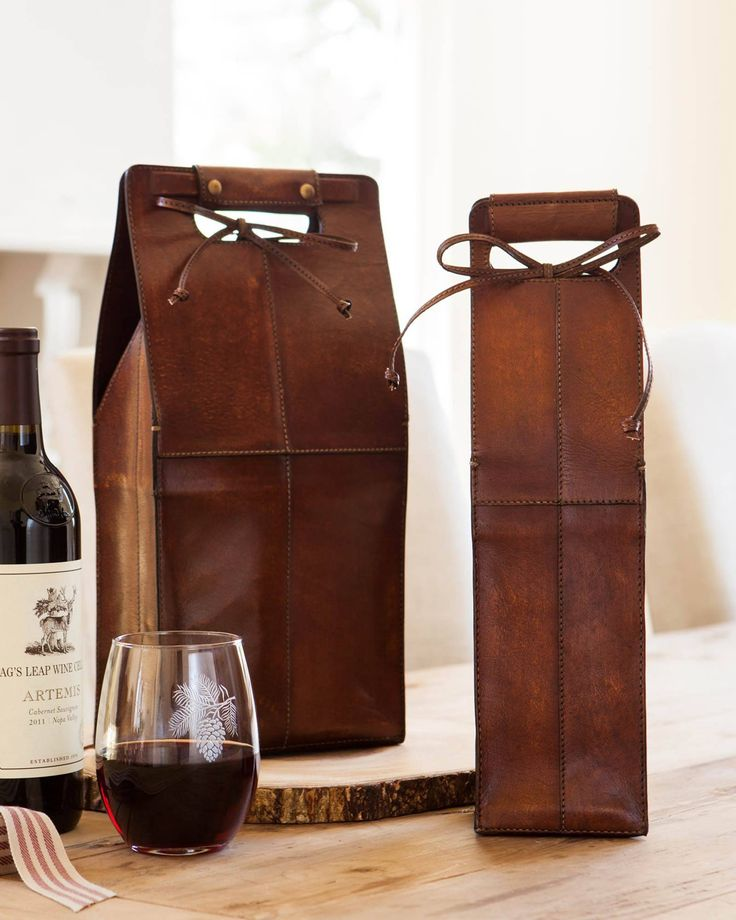 Leather Wine Bottle Carrier and Bag | Balsam Hill