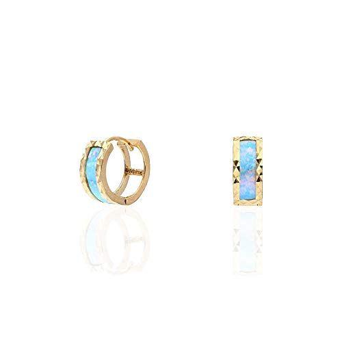 35c693fab10f9 14k Yellow Gold Diamond Cut Simulated Fire Opal Huggie Hoop Earrings ...