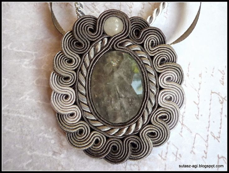 Shades of gray soutache pendant