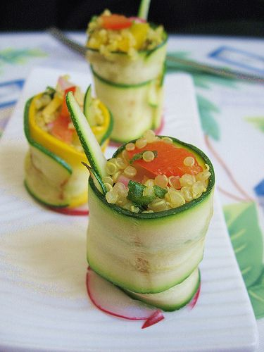 """Zucchini wrapped quinoa """"sushi"""" - take out the bell pepper in the recipe and it's good for the hypoallergenic diet! :)"""