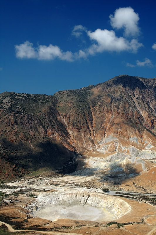 Stephanos caldera on the island of Nisyros, one of the most famous volcanic areas in the Mediterranean.