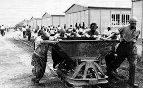 Op deze afbeelding zie je de joden in de concentratiekampen werken. De sterke gezonde joden mochten werken in de fabrieken en de zwakke die niks konden werden meteen vergast. Hele families werden uit elkaar gehaald.