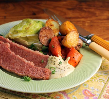 Recipe for corned beef with tangy horseradish-mustard sauce (pressure cooker, slow cooker or stovetop) {The Perfect Pantry}