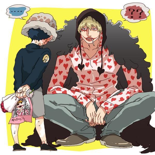 """I got you a gift"" Trafalgar D. Water Law and Donquixote Rocinante (Corazon) (Corasan, Cora-san) One Piece"