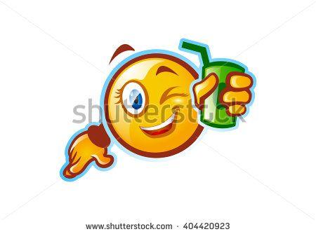 Funny emoticon holding a soda